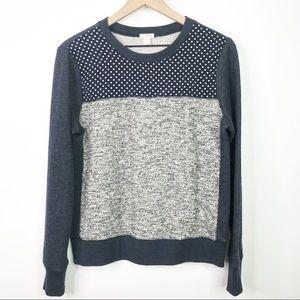J. Crew blue polka dot sweater pattern block